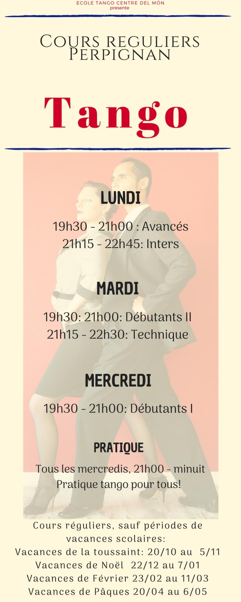 Ecole tango planning